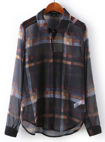 Black Long Sleeve Plaid Chiffon Blouse