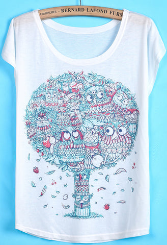 White Short Sleeve Owl Tree Print T-Shirt
