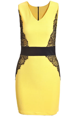 Yellow Contrast Lace V Neck Bodycon Dress