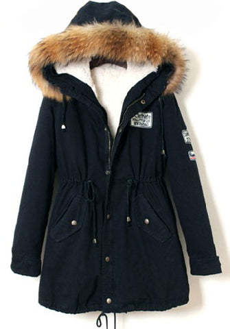 Navy Raccoon Fur Hooded Drawstring Parka