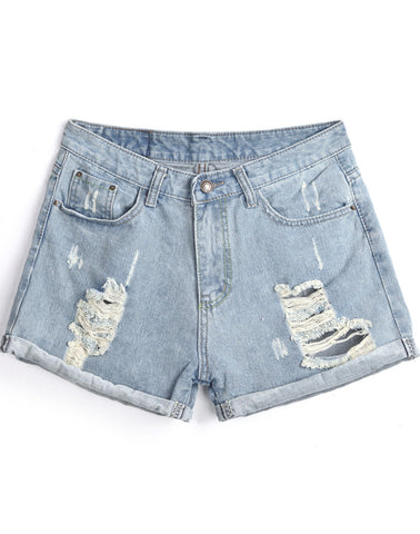 Blue Pockets Ripped Flange Denim Shorts