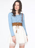 Blue White Long Sleeve Denim Contrast Mesh Yoke Dress