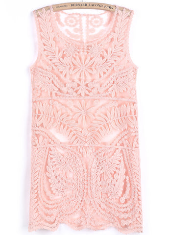 Pink Sleeveless Floral Crochet Lace Dress