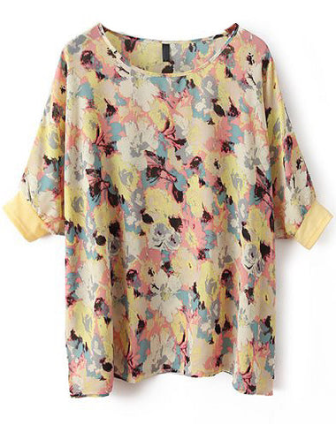 Yellow Batwing Sleeve Floral Loose Chiffon Blouse