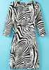 Black White Half Sleeve Zebra Print Bodycon Dress