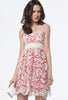 Apricot Strapless Hollow Embroidered Lace Dress