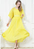 Yellow Lace Half Sleeve Pleated Chiffon Dress