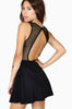 Black Contrast Mesh Yoke Hollow Backless Dress