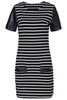 Black White Striped Contrast PU Leather Dress
