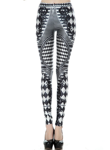 Black White Geometric Print Skinny Leggings