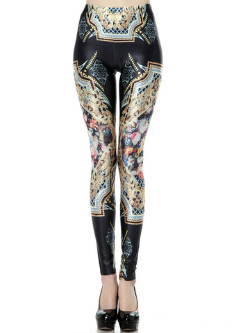 Black Vintage Digital Print Slim Leggings