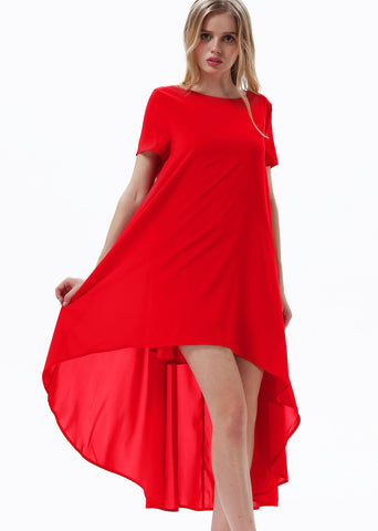 Red Short Sleeve Split High Low Dress