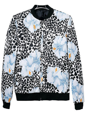 Black White Leopard Stand Collar Floral Jacket