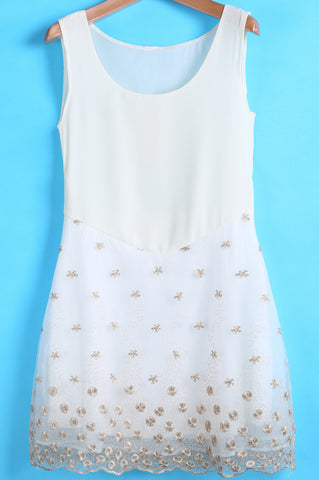 White Round Neck Sleeveless Embroidered Chiffon Dress
