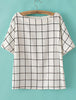 White Batwing Short Sleeve Plaid Blouse