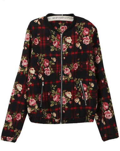 Red Long Sleeve Plaid Floral Crop Jacket