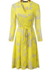 Yellow V Neck Long Sleeve Floral Pleated Dress