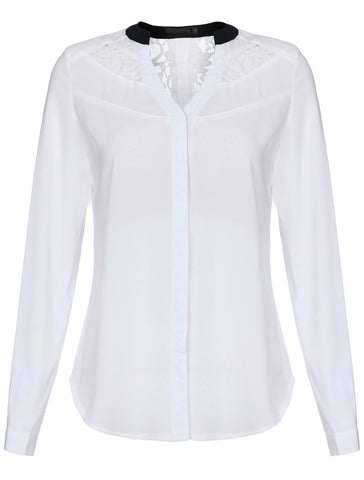 White Long Sleeve Contrast Lace Hollow Blouse