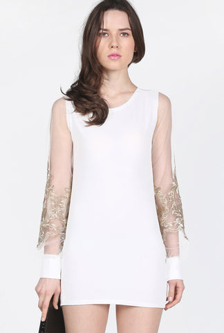 White FLoral Embroidery Contrast Mesh Yoke Dress