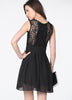 Black Sleeveless Lace Bandeau Ruffles Dress