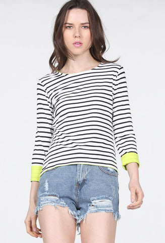 Black Long Sleeve Striped Dipped Hem T-Shirt