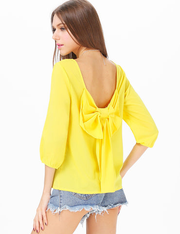 Yellow Long Sleeve Bowknot Backless Blouse