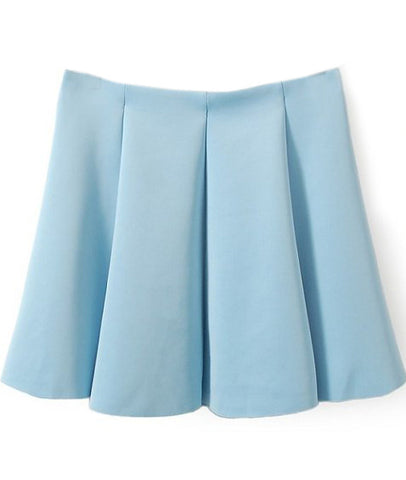 Blue Pleated Flare Skater Skirt