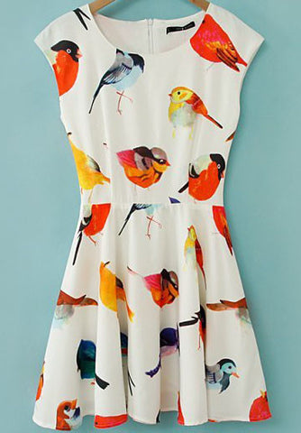 Beige Cap Sleeve Birds Print Flare Short Dress