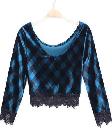 Blue Black Plaid Lace Crop Blouse