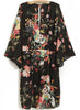 Black V Neck Long Sleeve Floral Dress