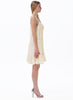 White Spaghetti Strap Hollow Pleated Dress