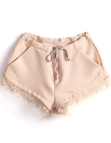 Apricot Drawstring Waist Pockets Lace Shorts