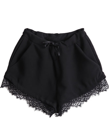 Black Drawstring Waist Pockets Lace Shorts