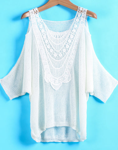 White Off the Shoulder Hollow Dipped Hem Top
