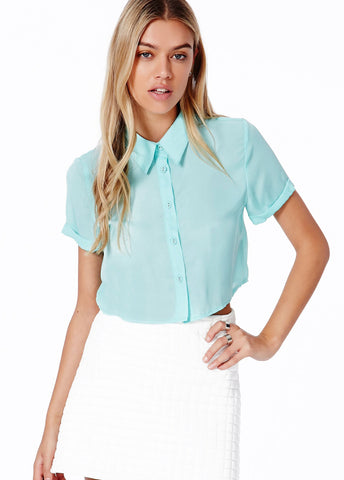 Blue Lapel Short Sleeve Buttons Crop Blouse