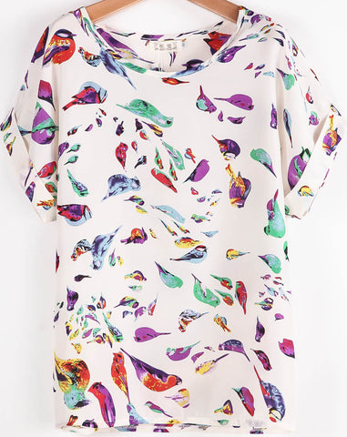 White Batwing Short Sleeve Birds Print T-Shirt
