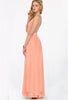 Peach V-neck Spaghetti Straps Backless Maxi Dress