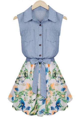 Blue Sleeveless Bowknot Contrast Chiffon Denim Dress