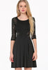 Black Long Sleeve Contrast Lace Hollow Dress