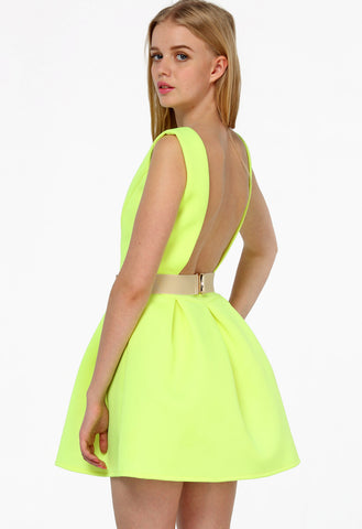 Neon Green Sleeveless Backless Flare Dress
