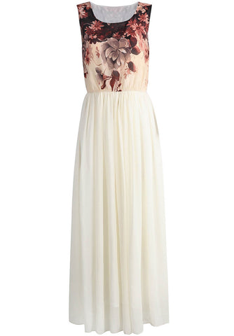 Apricot Sleeveless Floral Chiffon Full Length Dress