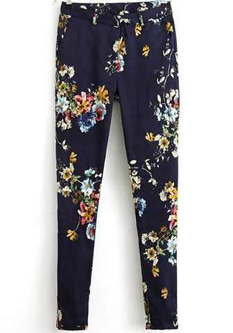 Blue Floral Pockets Casual Pant