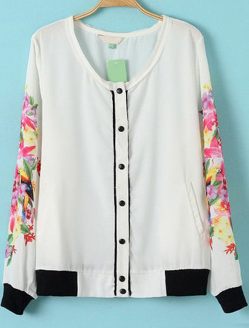 White Floral Long Sleeve Buttons Jacket