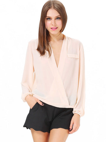 Apricot Deep V Neck Long Sleeve Loose Blouse