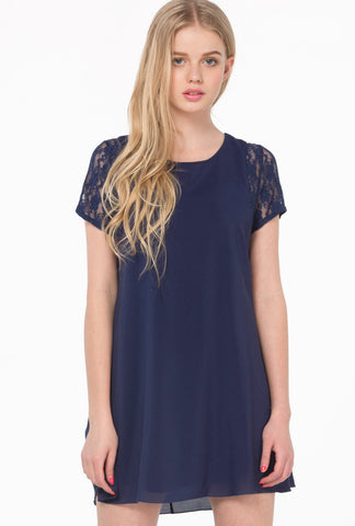 Blue Contrast Lace Short Sleeve Split Chiffon Dress