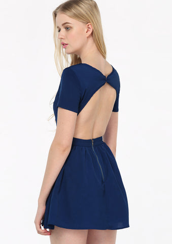 Dark Blue Short Sleeve Cut Out Back Skater Dress