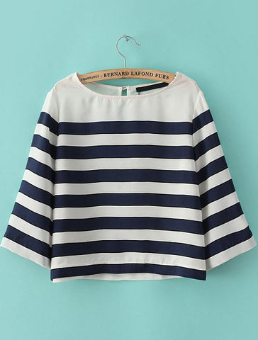 Navy White Striped Loose Crop Blouse
