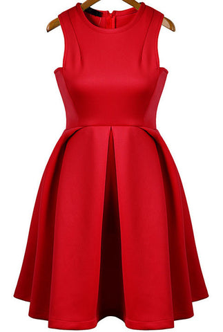 Red Round Neck Sleeveless Flare Pleated Dress