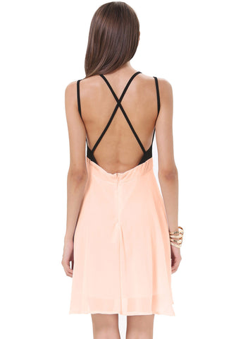 Light Pink Contrast Black Spaghetti Strap Chiffon Dress