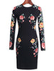 Black Long Sleeve Floral Pattern Dress